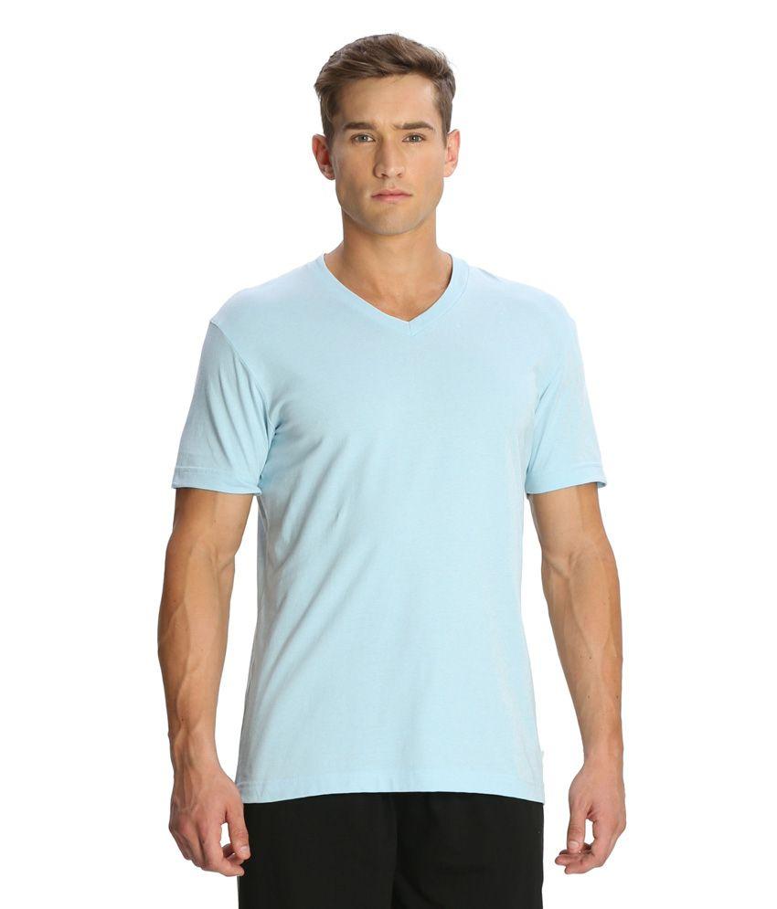 Jockey White Cotton V-neck Half Sleeves T-shirt