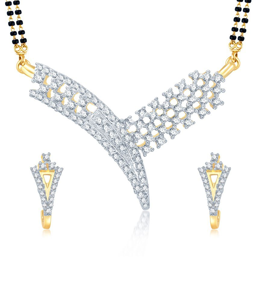 Sukkhi Artistically Gold and Rhodium Plated Cubic Zirconia Stone Studded Mangalsutra Set (Mangalsutra Mala may vary from the actual image)