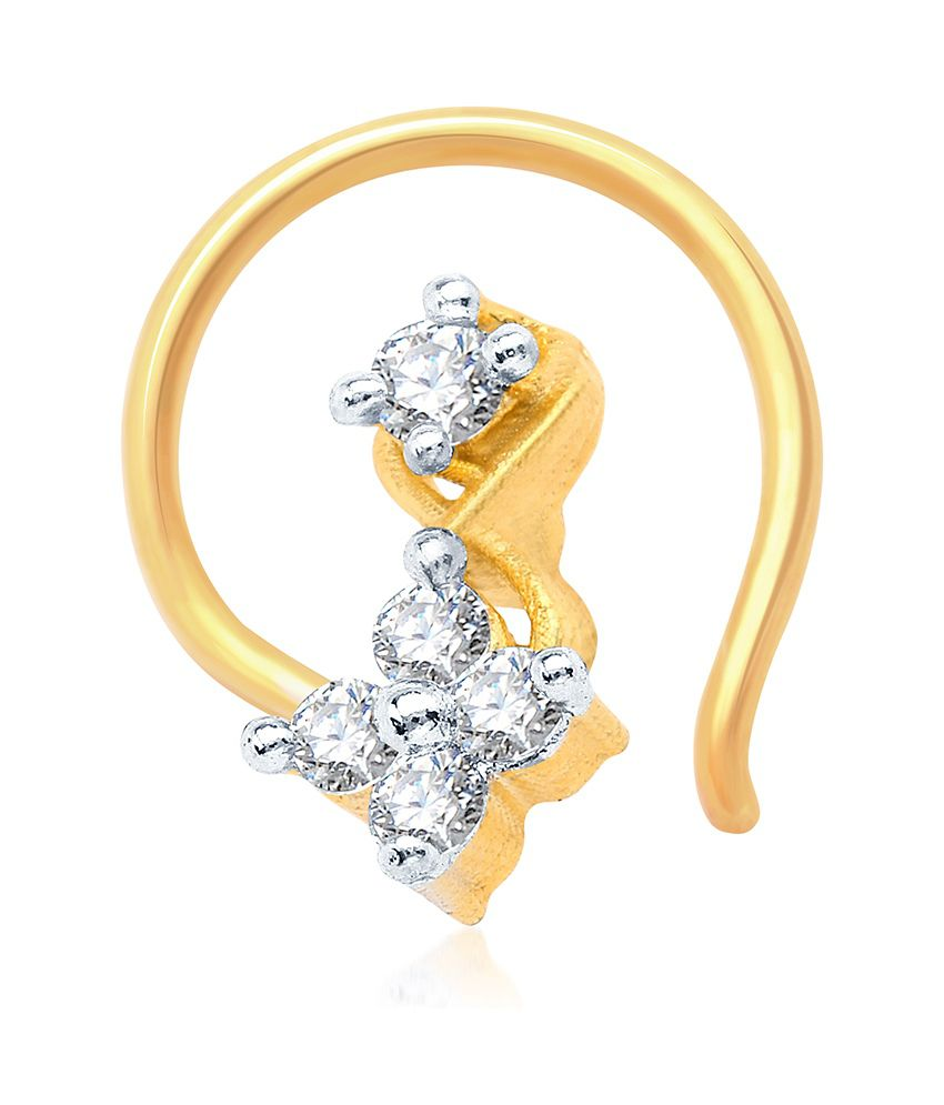 Sukkhi Beguilling Gold and Rhodium Plated CZ Nose Pin