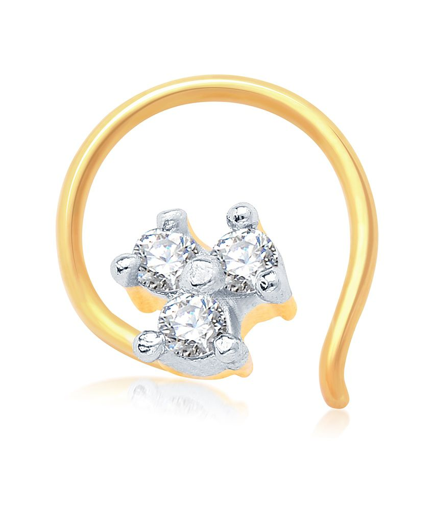Sukkhi Briliant Gold and Rhodium Plated CZ Nose Pin
