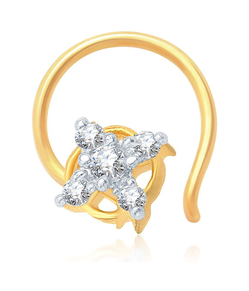 Sukkhi Charming Gold and Rhodium Plated CZ Nose Pin