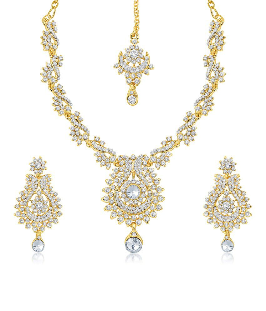 Sukkhi Glorius Gold Plated Australian Diamond Stone Studded Necklace Set