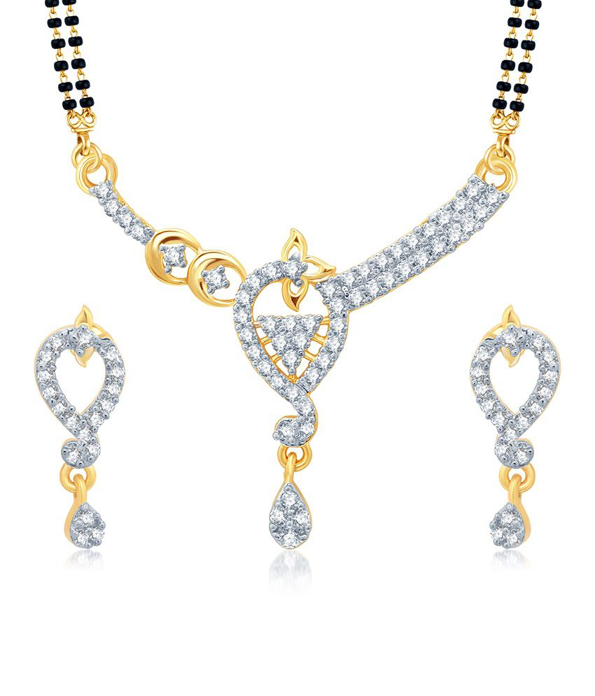 Sukkhi Glorius Gold and Rhodium Plated Cubic Zirconia Stone Studded Mangalsutra Set (Mangalsutra Mala may vary from the actual image)