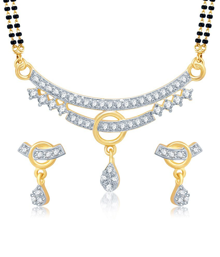Sukkhi Lavish Gold and Rhodium Plated Cubic Zirconia Stone Studded Mangalsutra Set (Mangalsutra Mala may vary from the actual image)