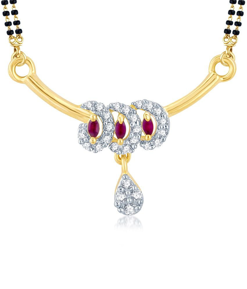 Sukkhi Shimmering Gold and Rhodium Plated Cubic Zirconia and Ruby Stone Studded Mangalsutra Pendant (Mangalsutra Mala may vary from the actual image)