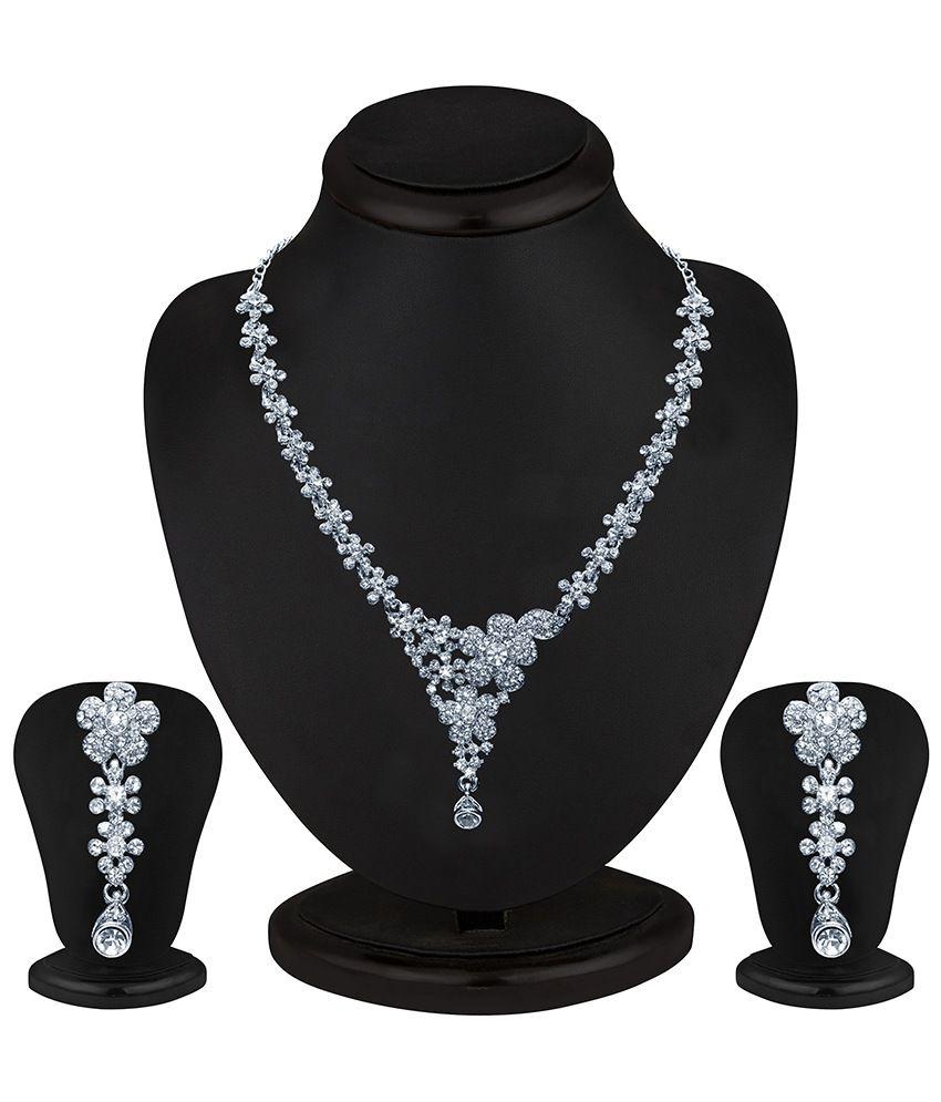 Sukkhi Youthful Rhodium plated AD Stone Necklace Set