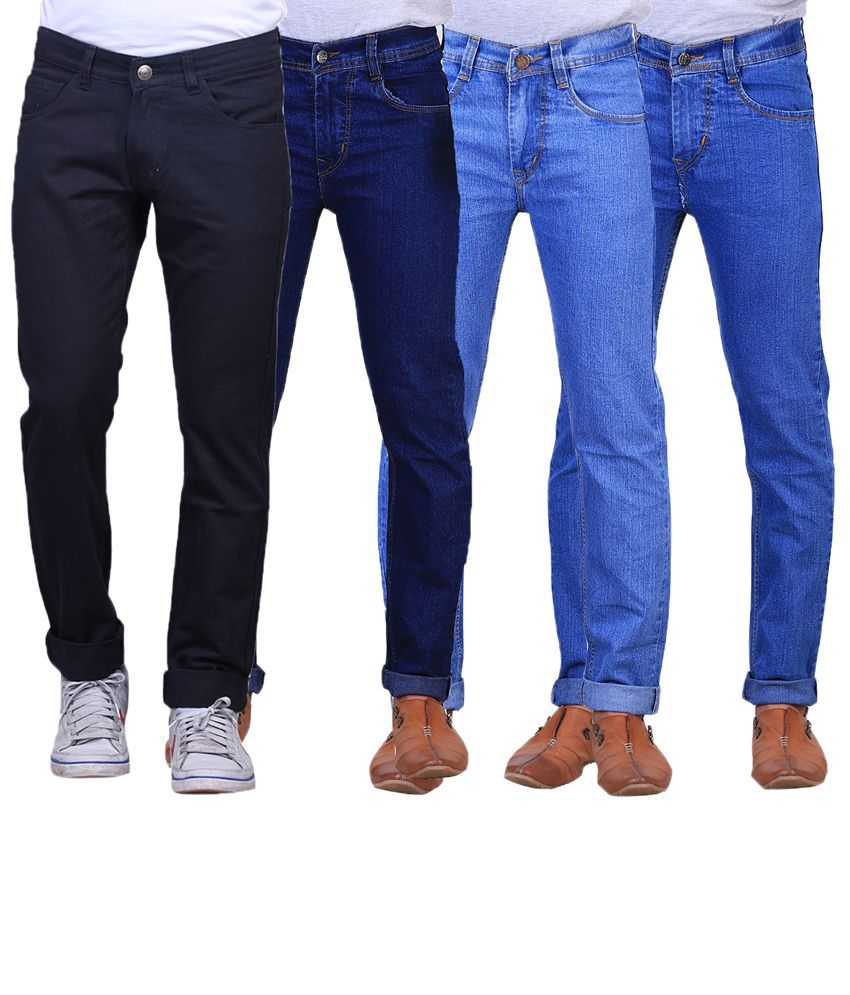 X-Cross Combo Of 4 Blue & Black Regular Fit Jeans For Men