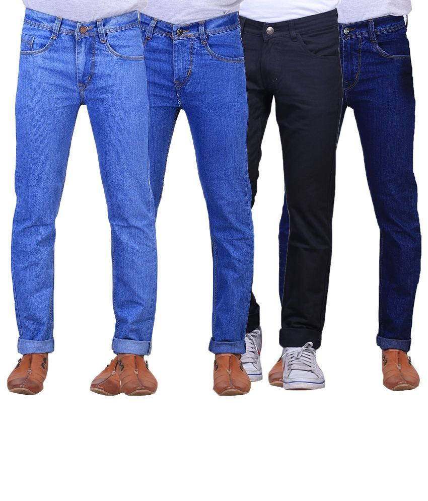 X-Cross Stylish Combo Of 4 Blue & Black Regular Fit Jeans For Men