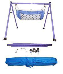 Smart Baby Purple Round Pipe Folding Baby Cradle Bassinet