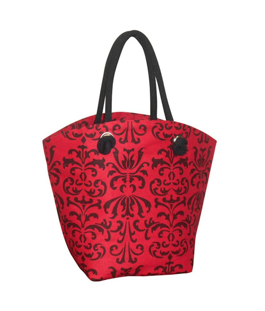 EARTHBAGS Boat Shape Red Jute-Cotton blend Bag with Black Scroll Print