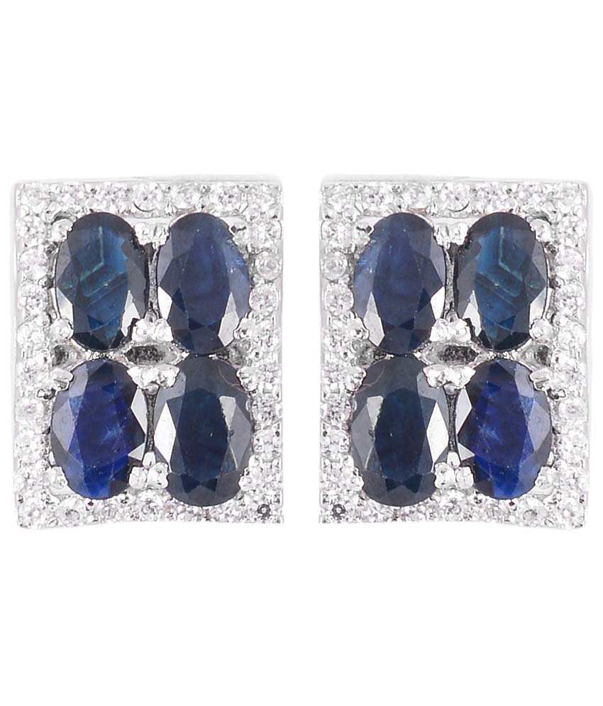 Jewel Place 925 Sterling Silver & Natural Blue Sapphire with C Z Gemstones Cufflinks