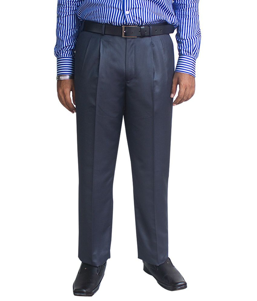 Kinger Navy Blue Poly Viscose Regular Fit Trousers
