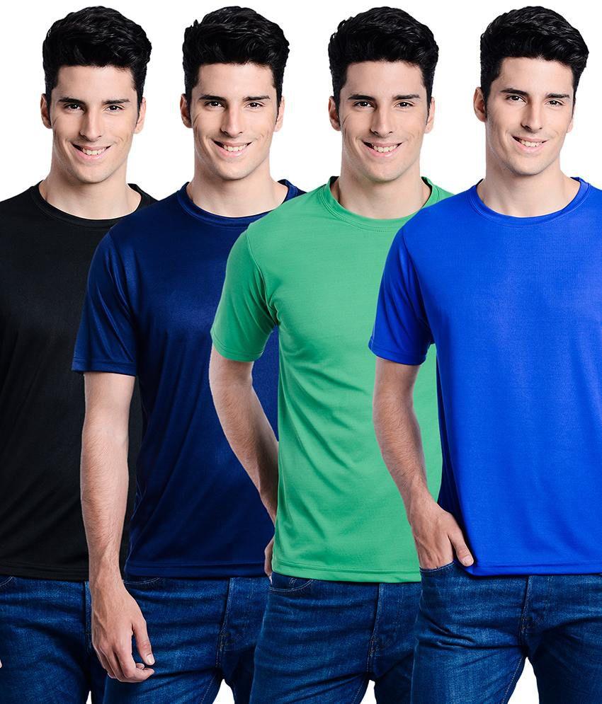 Superjoy Black Polyester Round Neck Half T-Shirt For Men