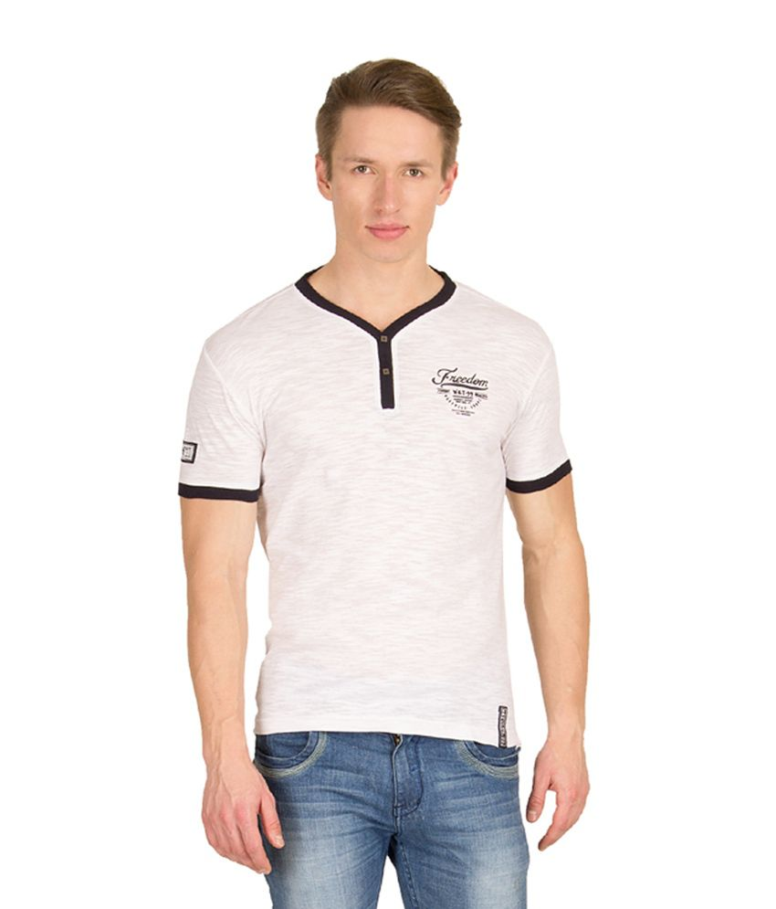 Wilkins & Tuscany White Cotton Henley T-Shirt
