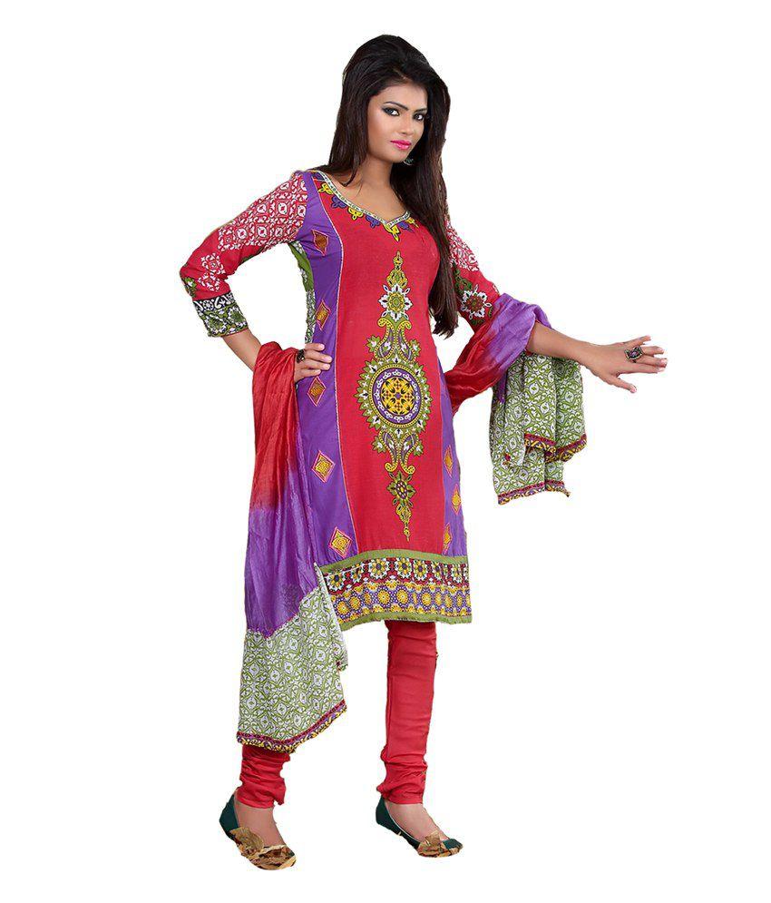 Shruti Fashion Multi Cotton Stitched Suit