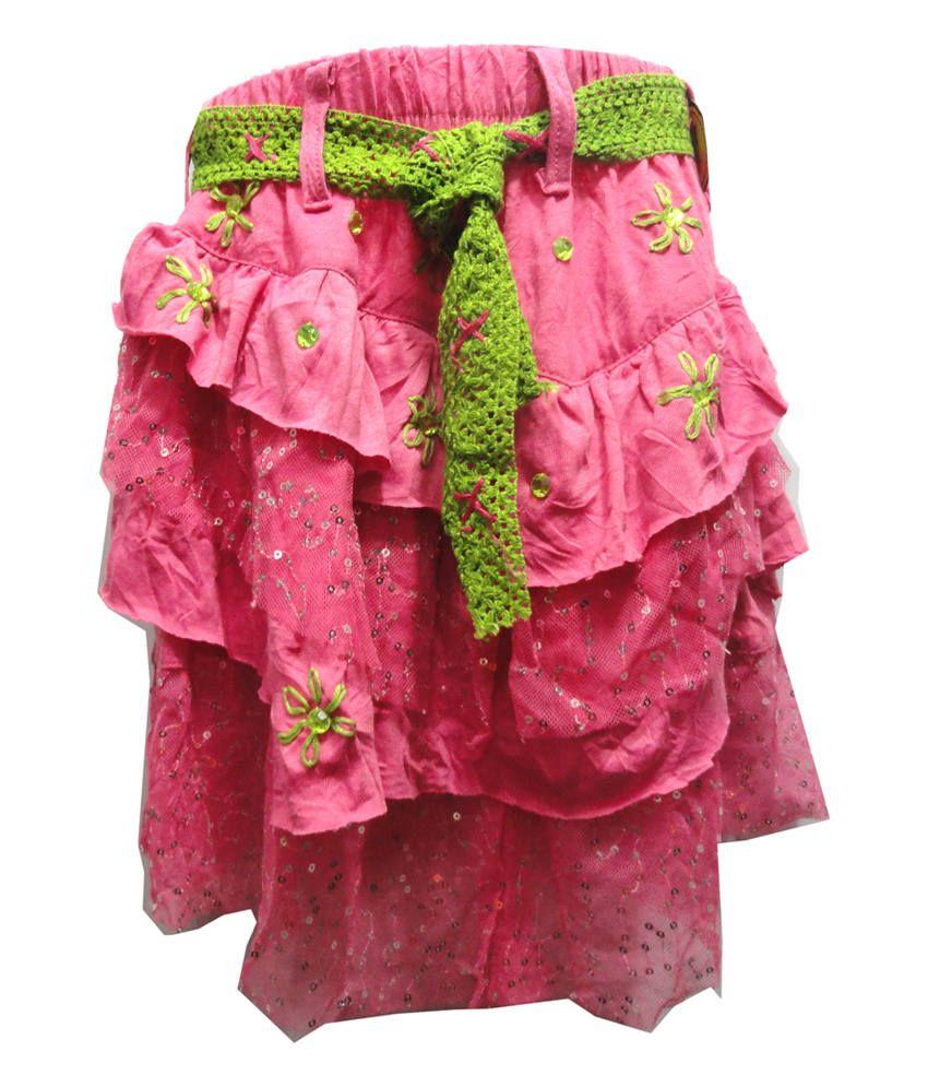Threads Pink Cotton Printed Elastic Skirt