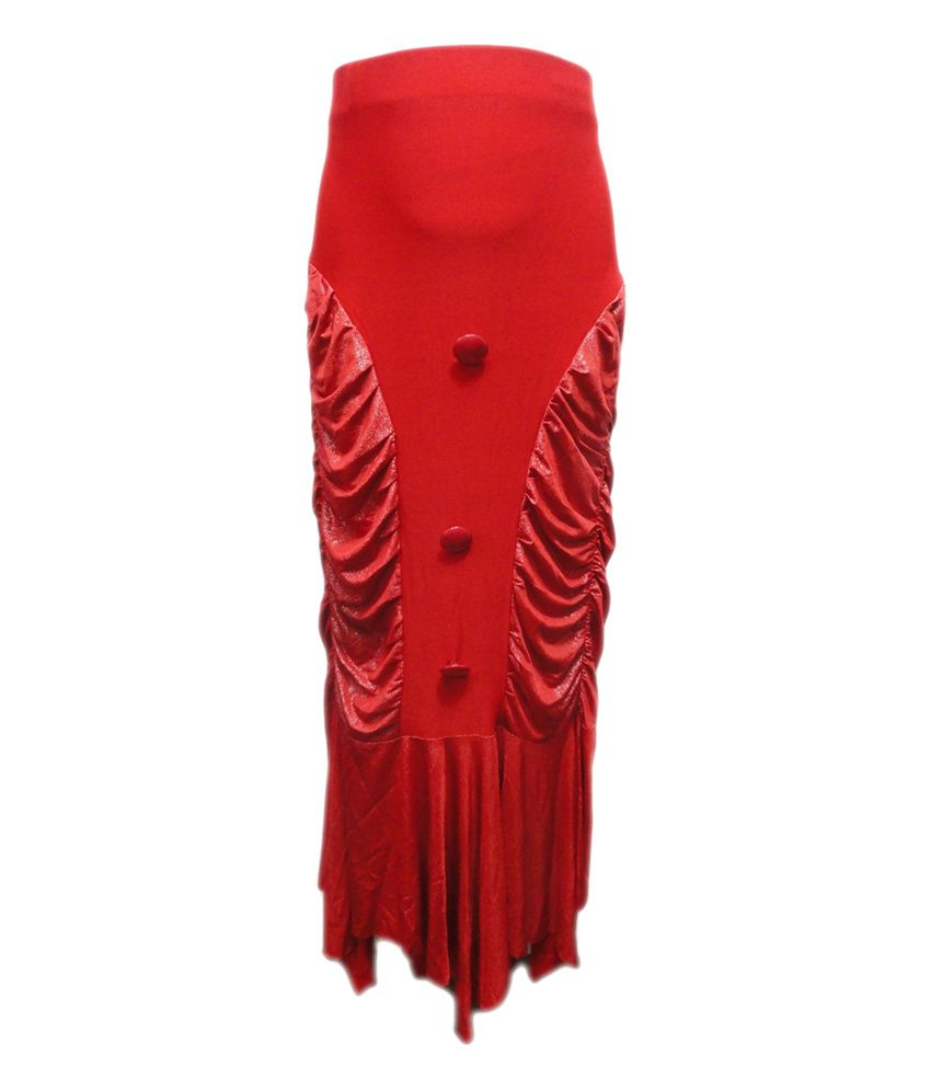 Threads Red Synthetic Printed Elastic Skirt