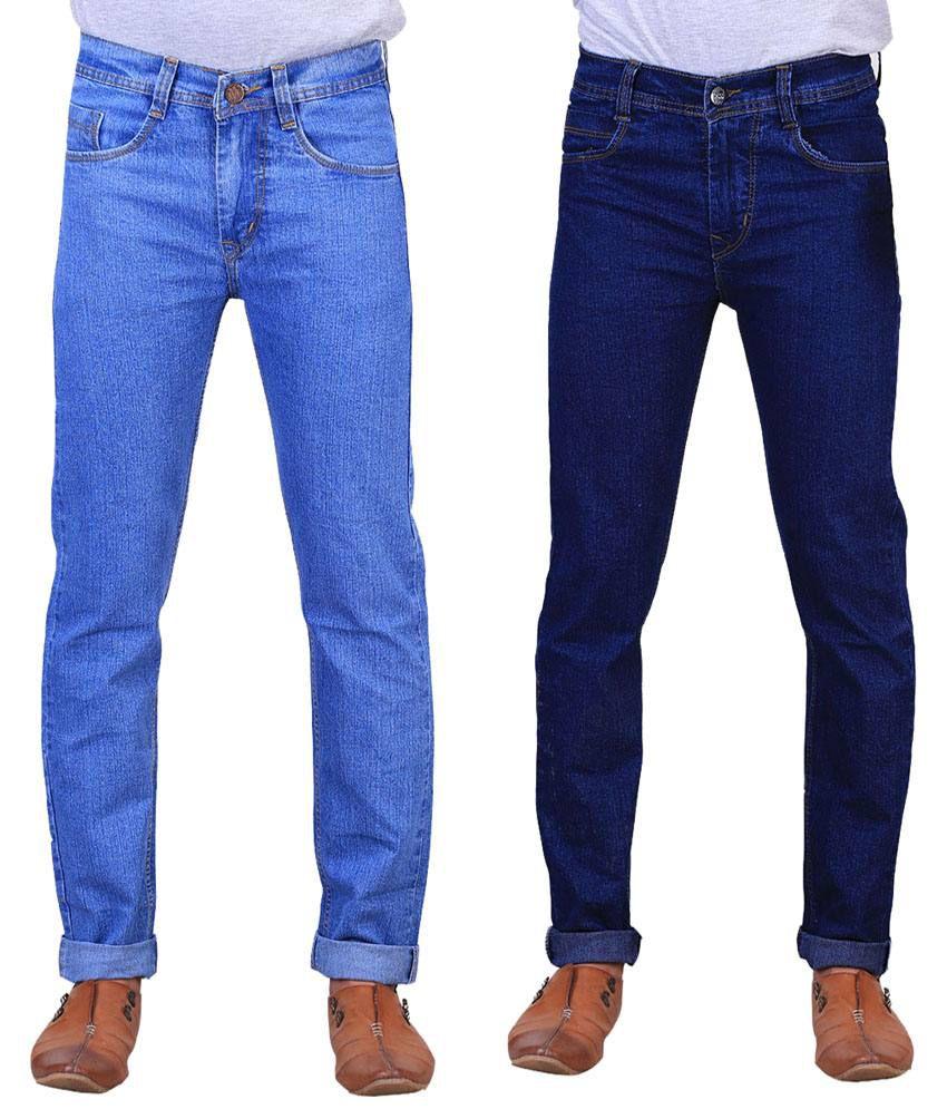 X-Cross Classy Combo Of 2 Blue Jeans For Men