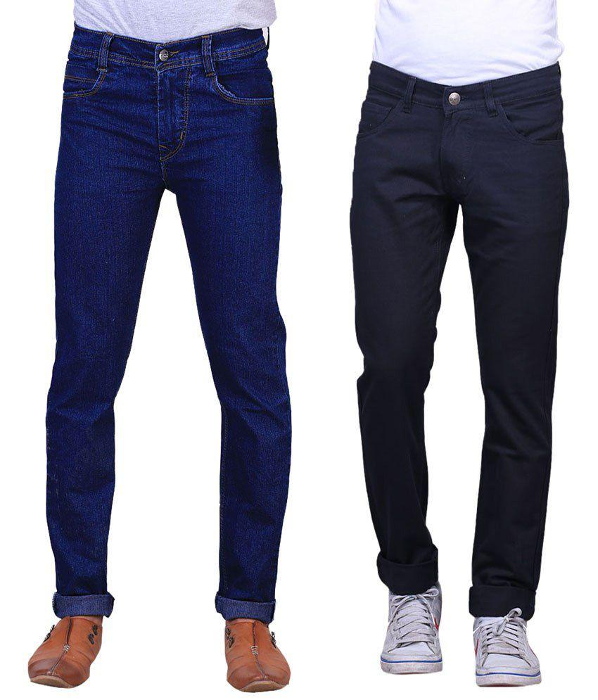 X-Cross Exquisite Combo Of 2 Blue & Black Jeans For Men