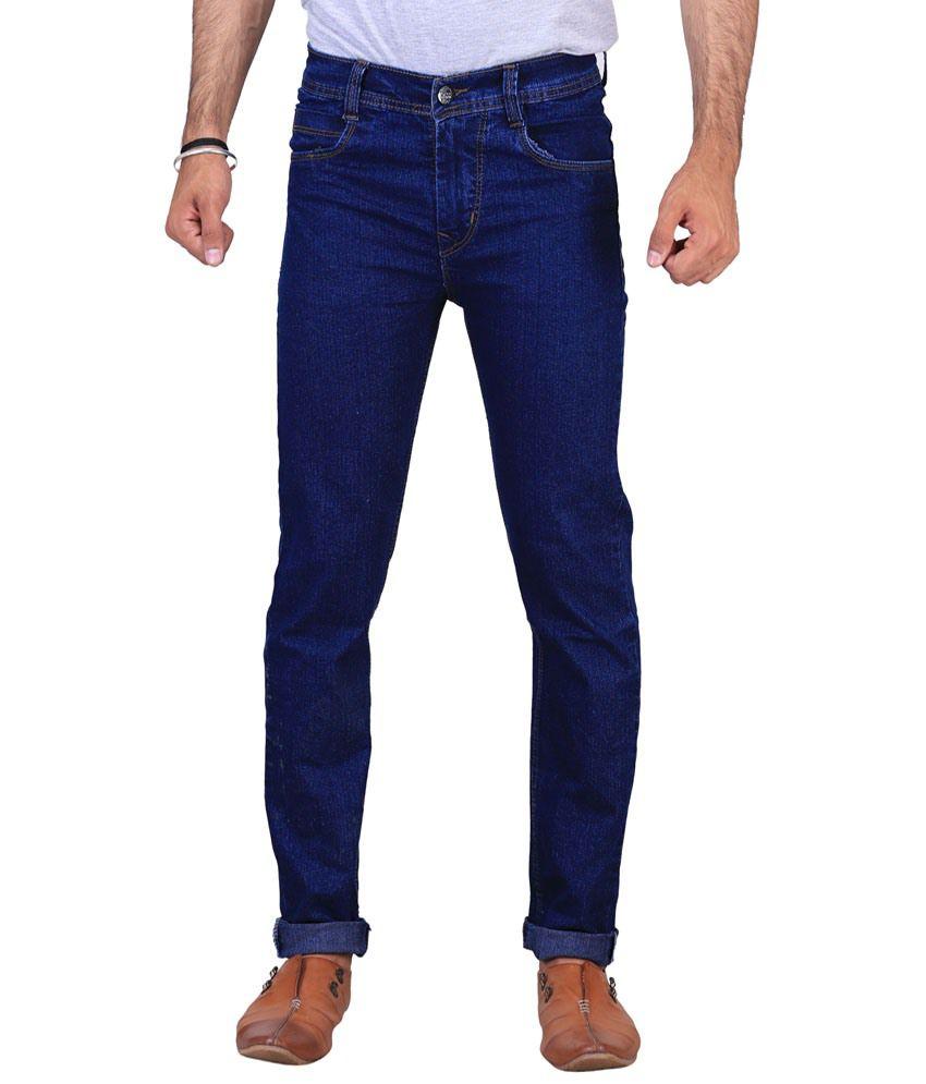 X-Cross Stylish Blue Cotton Blend Jeans For Men