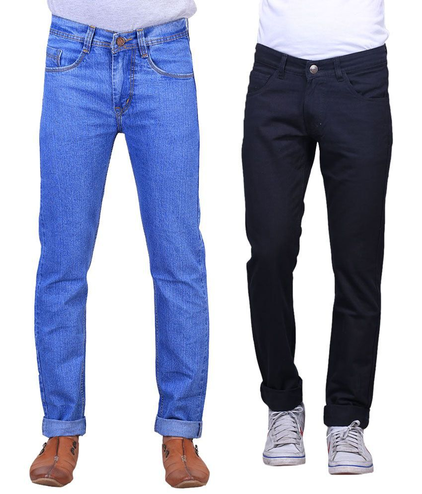 X-Cross Stylish Combo Of 2 Black & Blue Jeans For Men