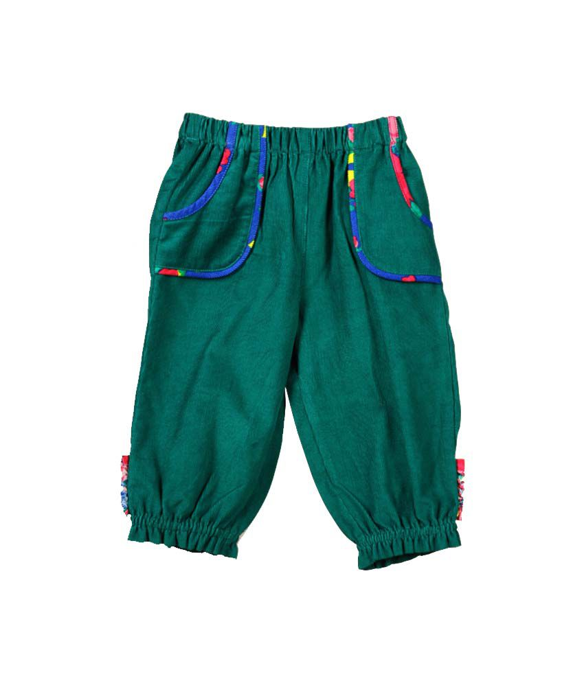 Young Birds Green Cotton Solids Elastic Shorts