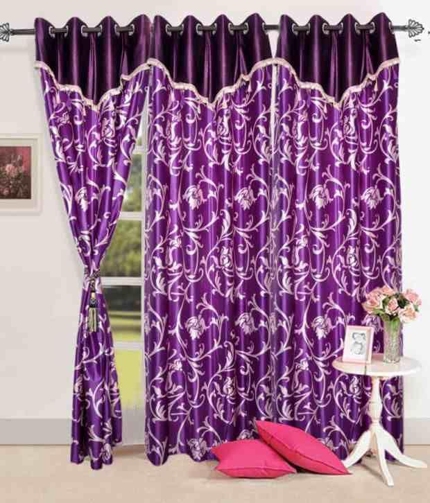 Door Eyelet Curtains Printed Purple, Purple Color Curtains