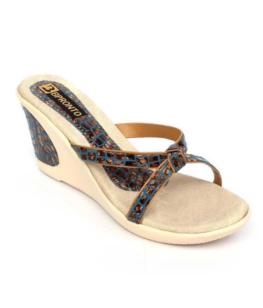 Bpronto Blue Patent Cap Toe Back Open High Heel Sandals