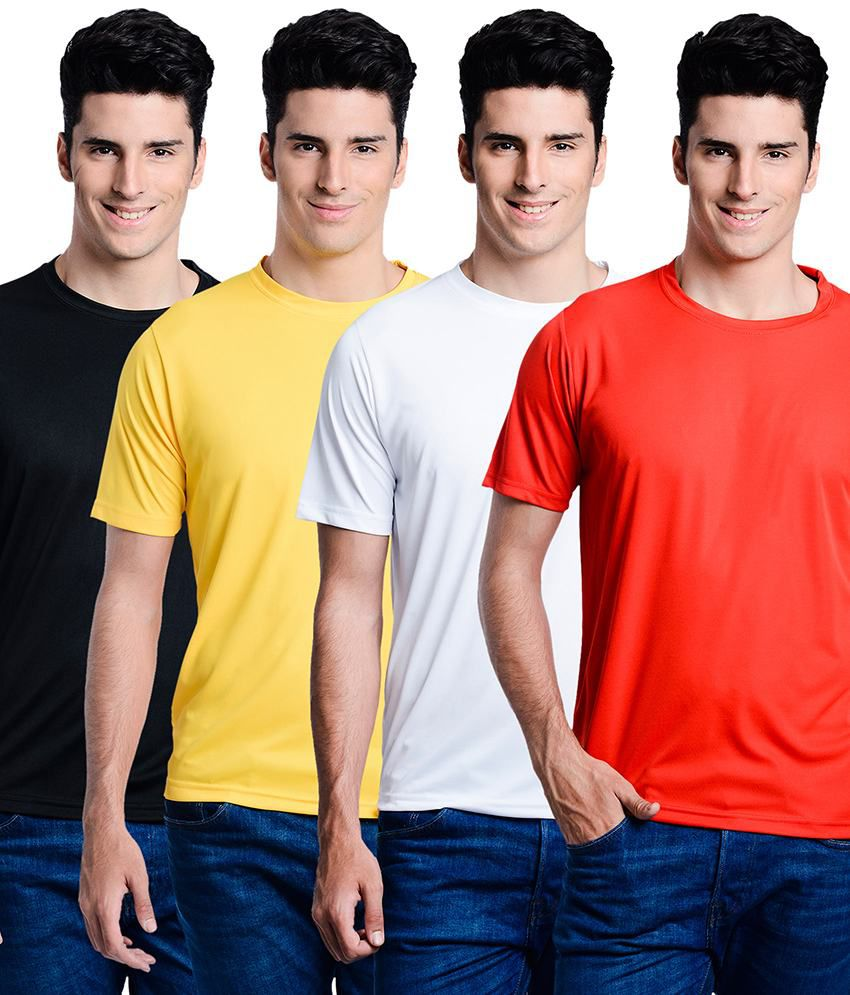 Superjoy Black Polyester Round Neck Half T-Shirt For Men
