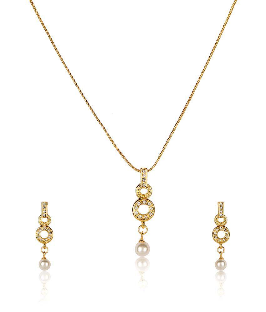 Estelle White Alloy Circle Of Life Crystal Necklace Set