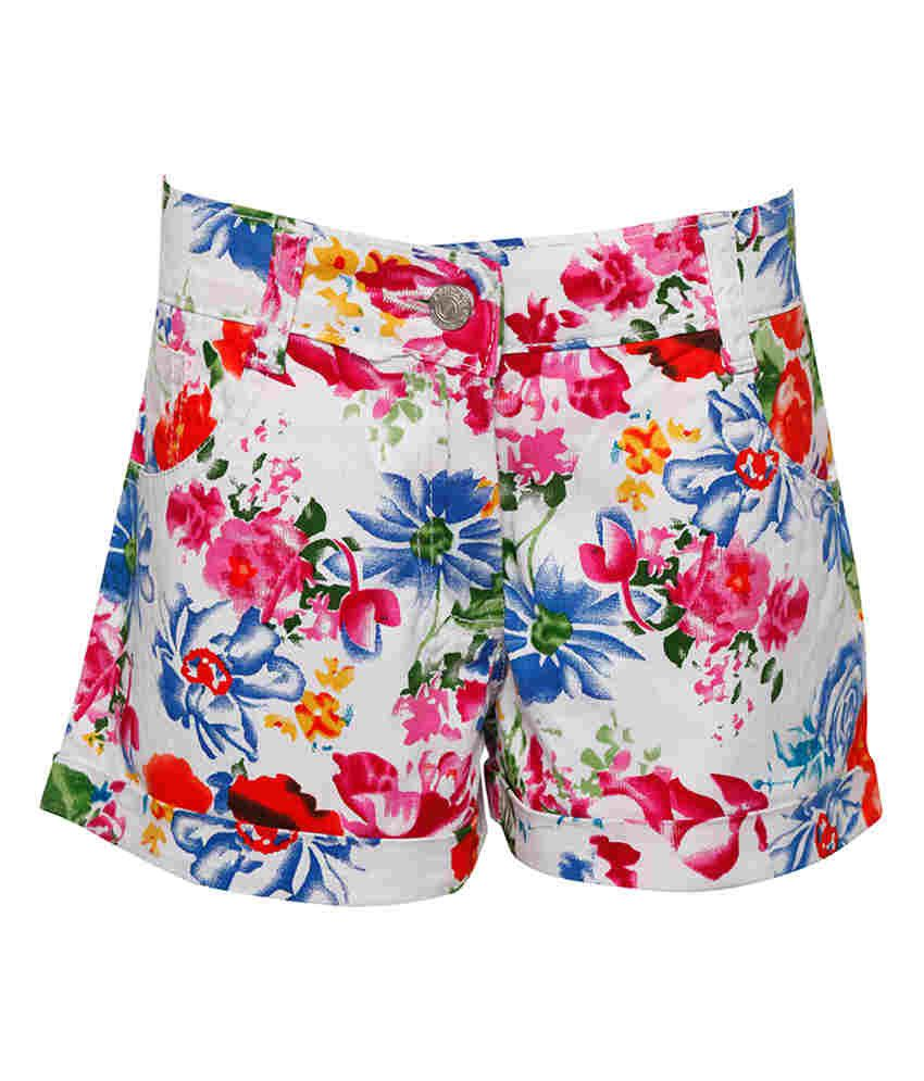 Joshua Tree White Cotton Printed Shorts