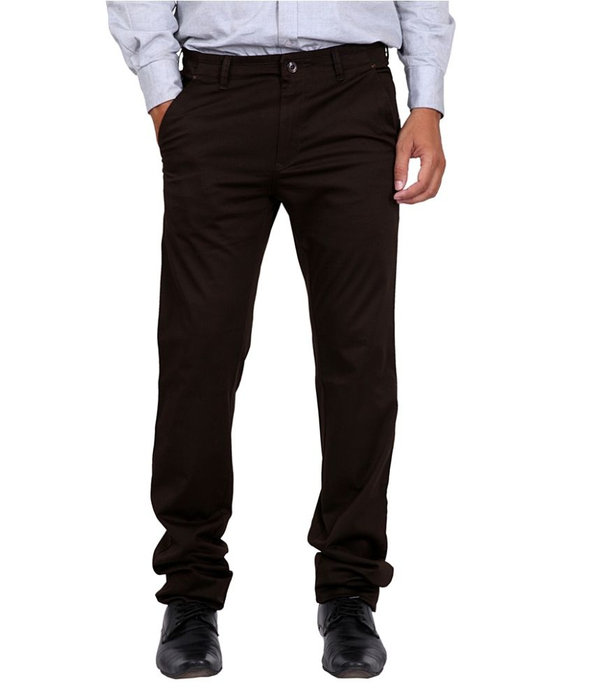 K-NOP Brown Cotton Lycra Regular Trousers