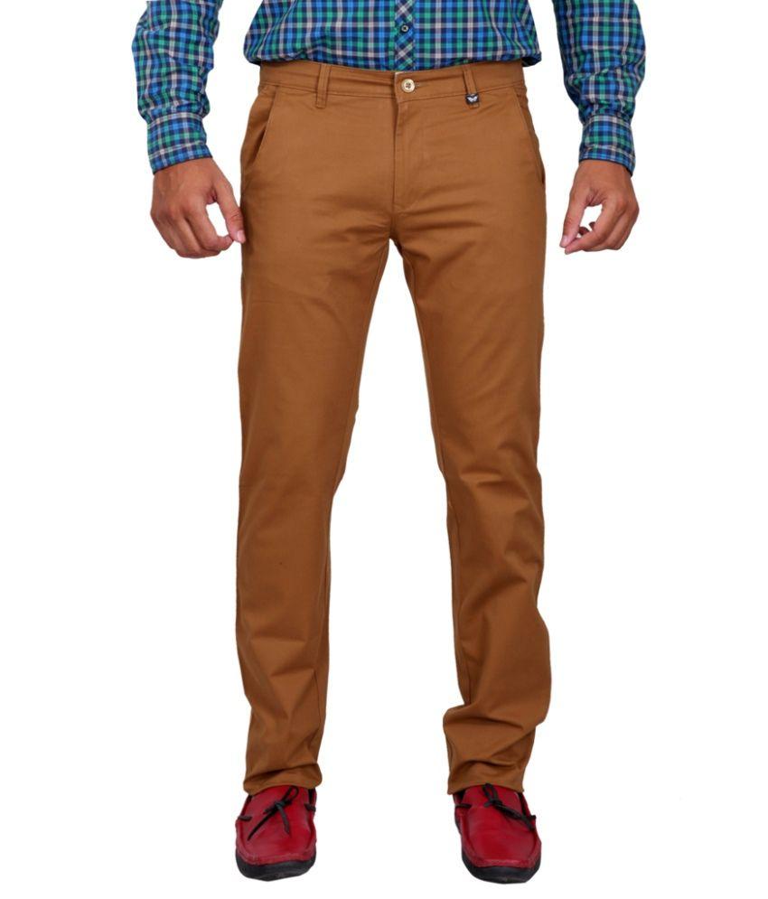 K-NOP Khakhi Cotton Lycra Regular Trousers
