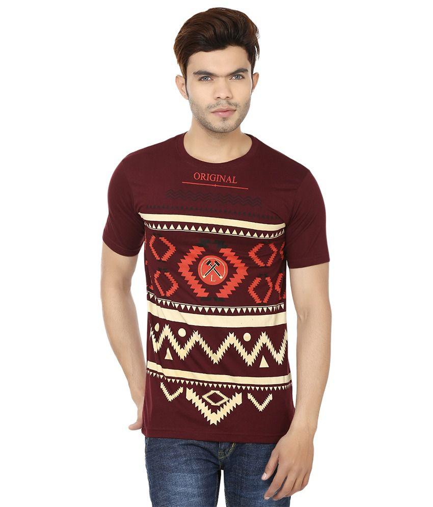 Lowcha Printed Men's Round Neck Maroon T-Shirt