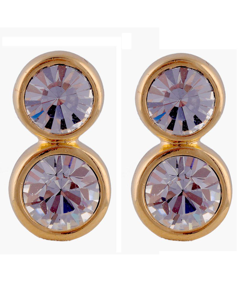 Trisha Double Solitaire Gold Tops Stud Earring In Gold