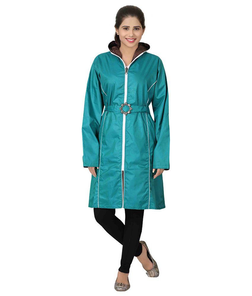 Brinley Blue Nylon Long Raincoat