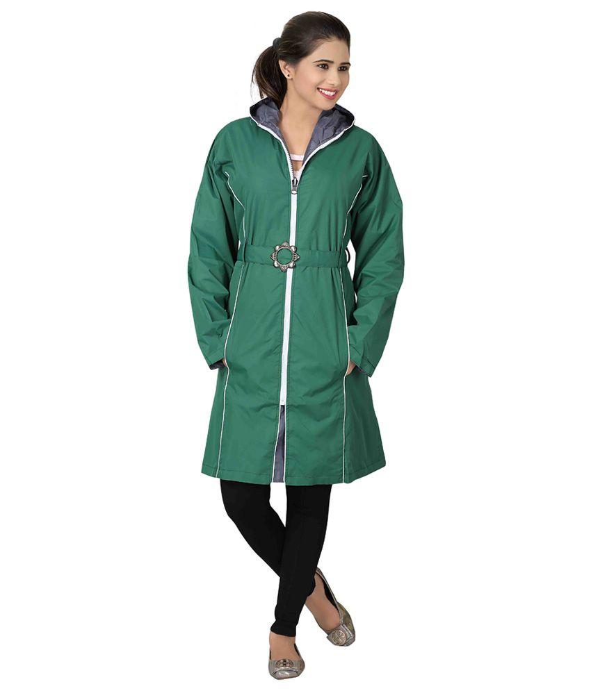 Brinley Green Nylon Long Raincoat