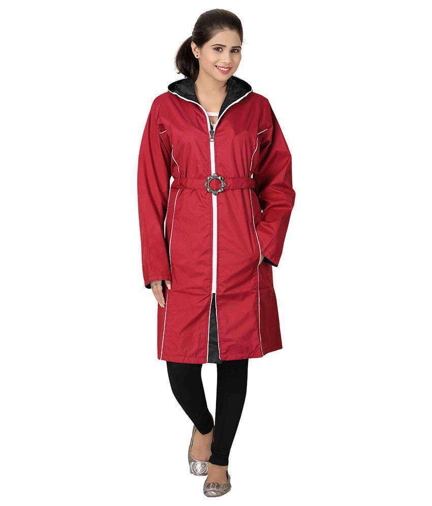 Brinley Red Nylon Long Raincoat