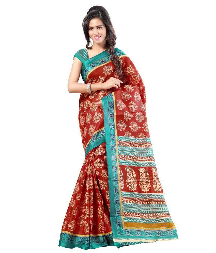 Kajal Sarees Multi Color Silk Printed Saree With Blouse Piece