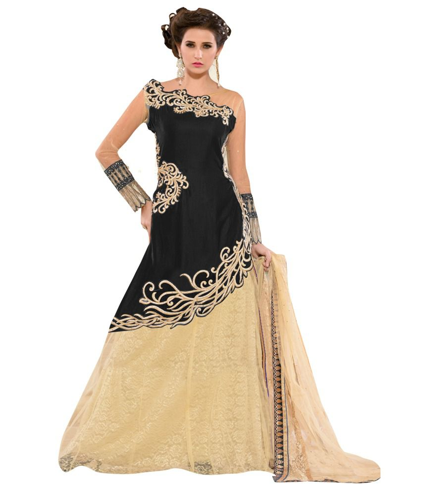 Aravcreation Black Net Semi Stitched Embroidered Salwar Suit