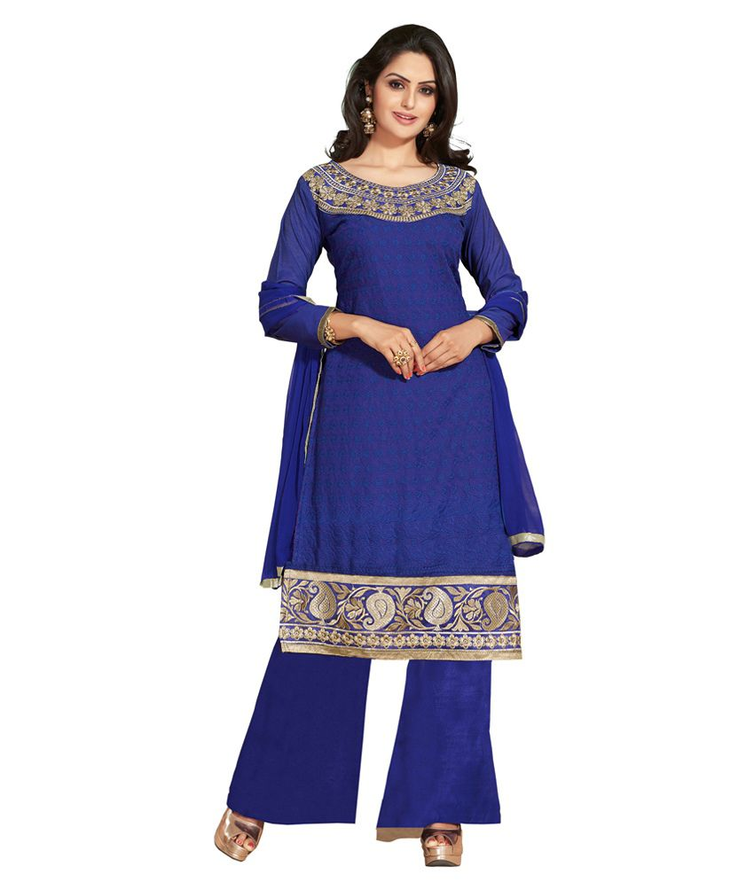 Dilwaa Blue Embroidered Chanderi Dress Material