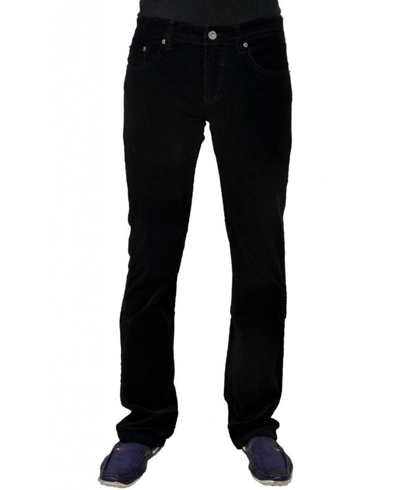 Shubham Shree Vastralay Black Cotton Blend Jeans For Men