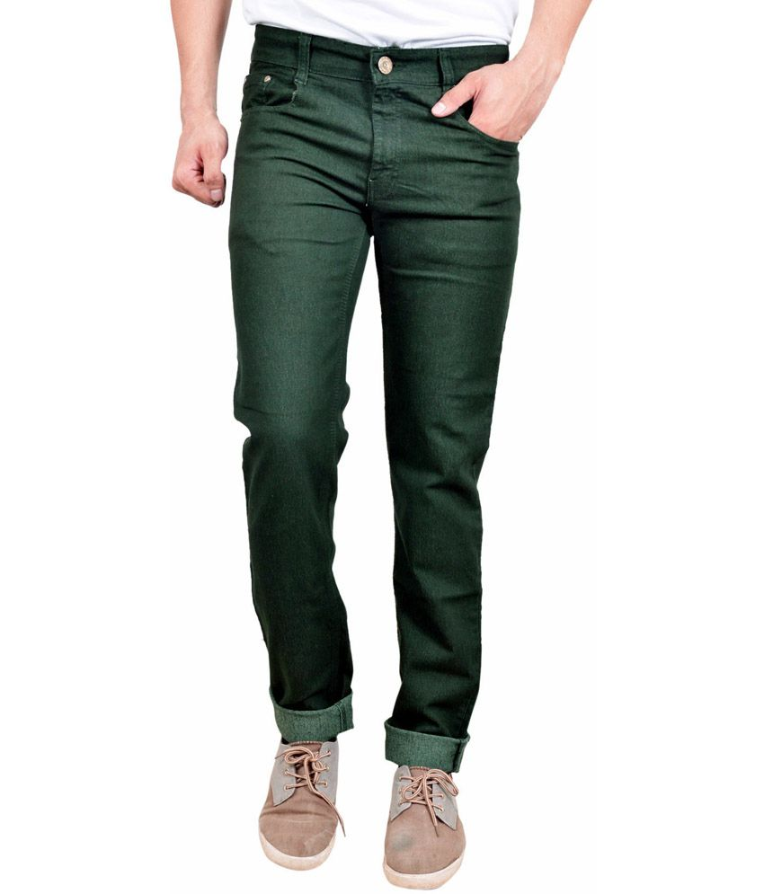 Studio Nexx Green Cotton Regular Fit Jeans