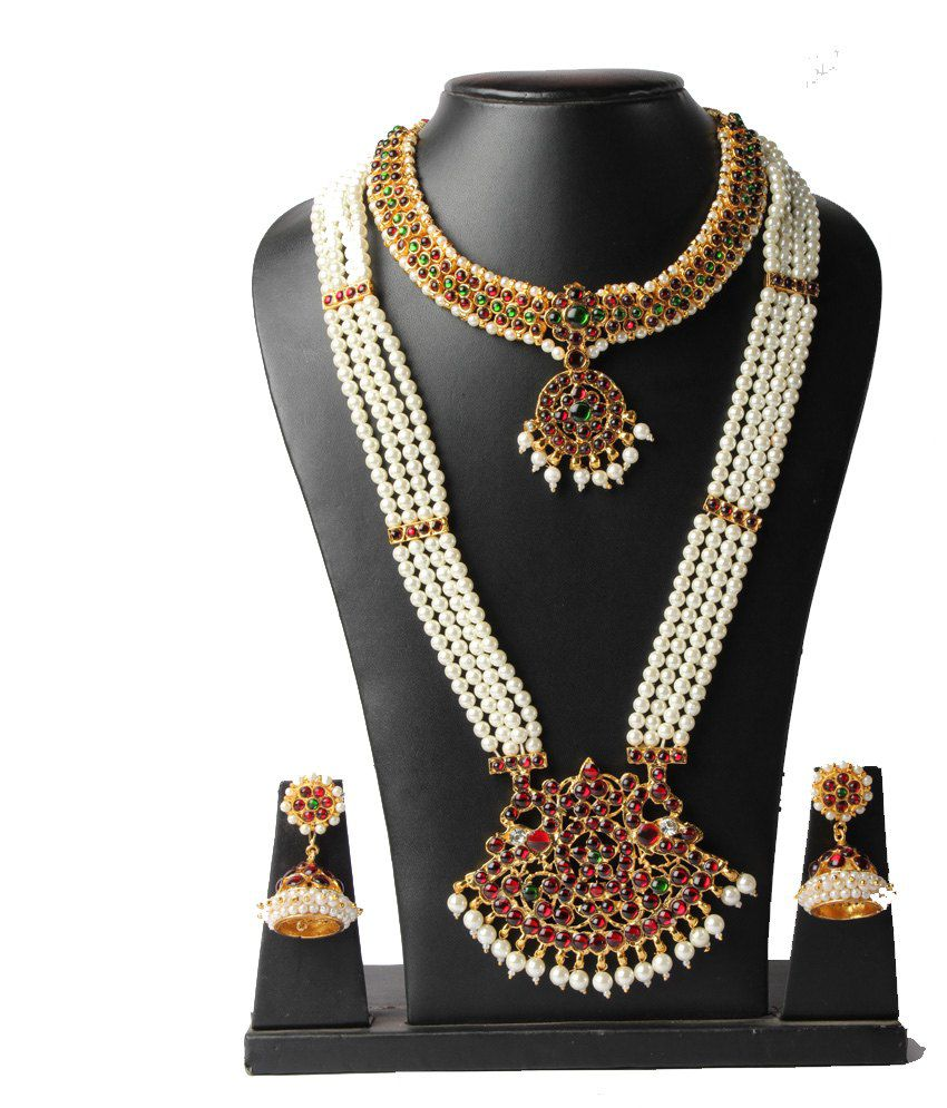 Vijaya Stores 4 Line Long Pearl Haram With Pendant And