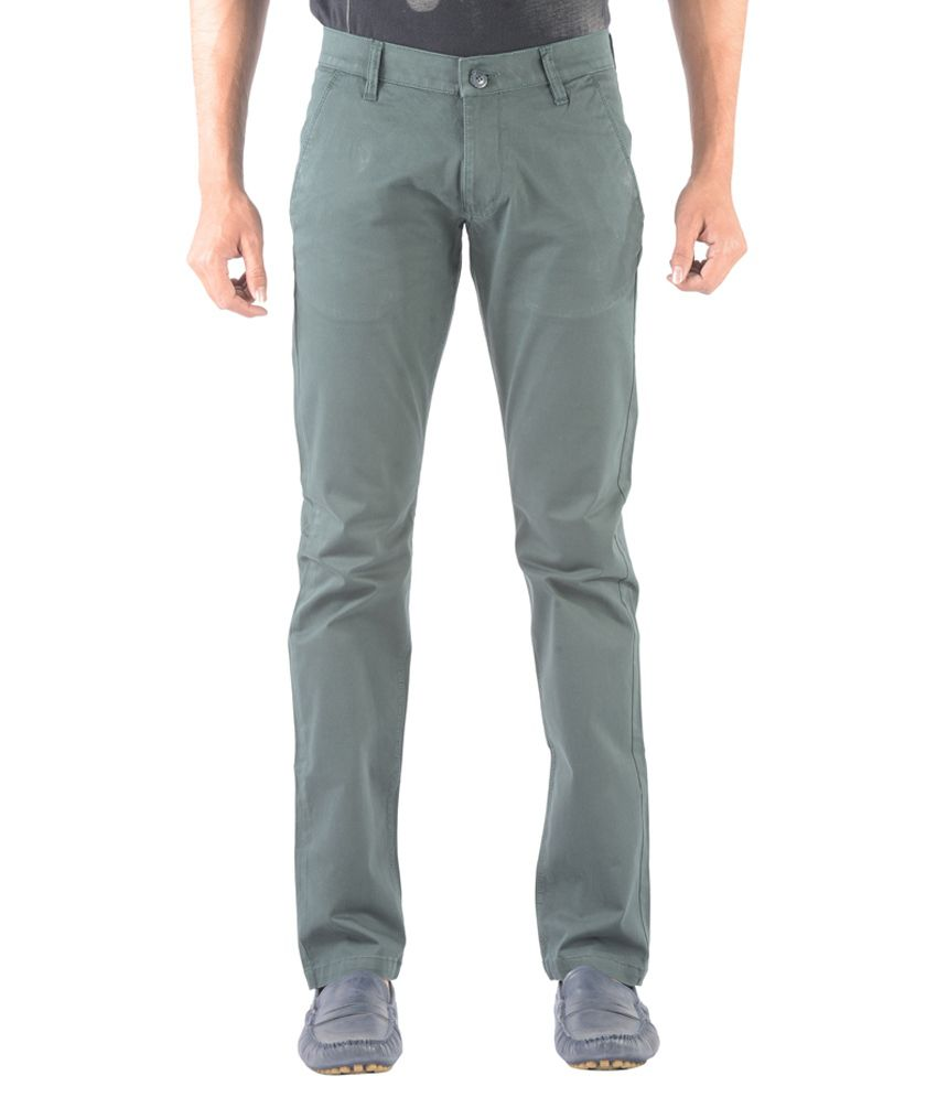 Vintage Green Cotton Lycra Slim Fit Casual Chinos