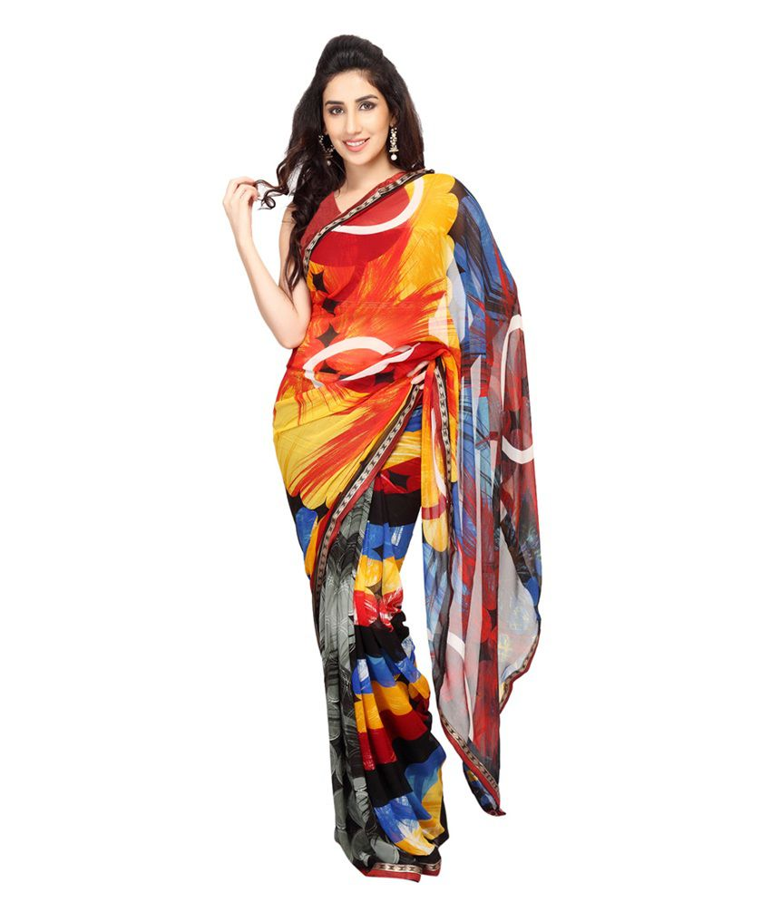 Vismit Red Pure Georgette Printed Saree With Blouse Piece