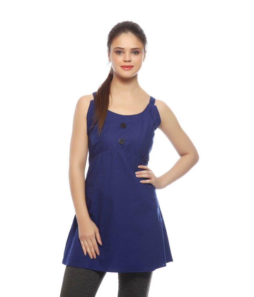 Ds Blue Cotton Partywear Dress