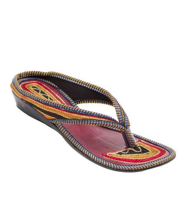 Forever Multicolour Velvet Party Wear Sandals