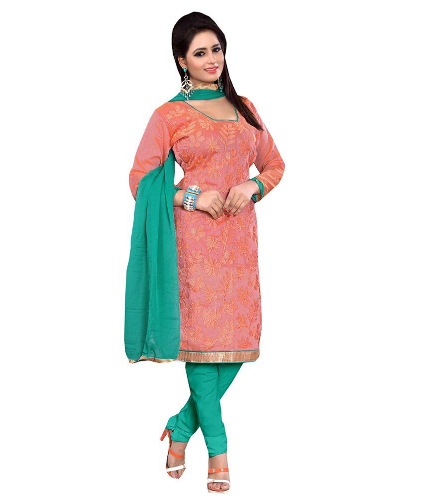 Palav Green Embroidered Chanderi Beautiful Dress Material