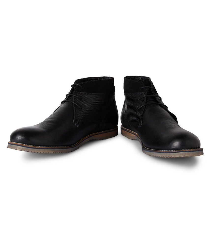Allen Solly Black Textured Boots